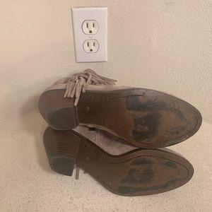 Sam Edelman Shoes - Sam Edelman Louie Fringed Booties Tan Suede Sz 7.5